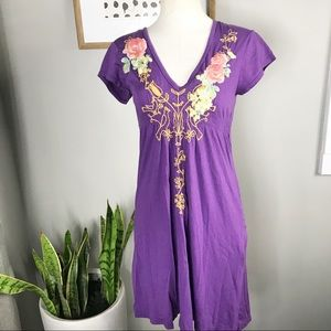 Johnny Was embroidered purple dress sz M